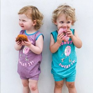 Rags to Raches Blue 🍩 Romper - Size 2T